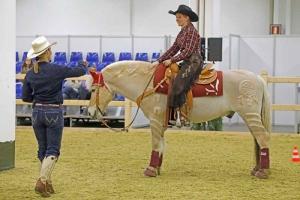 20170324-Equitana-Alexandra-Schürmann-Teilnehmerin-mit-geschorenem-Pferd